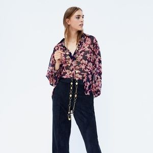 NWT Zara Size S Floral Sheer Blouse